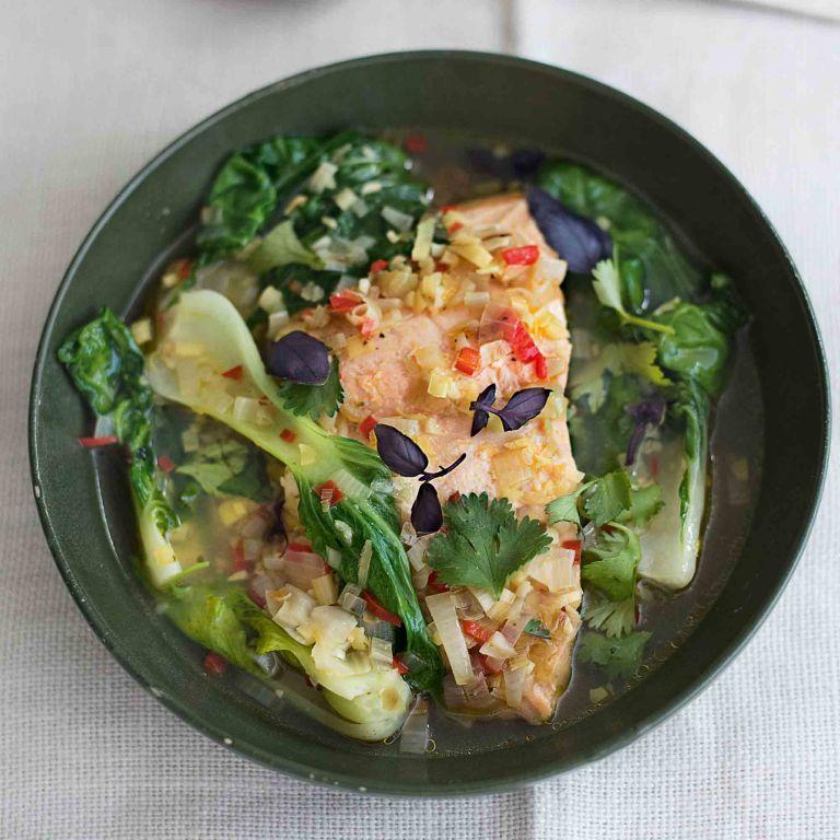 Poached Thai Salmon with Pak Choi