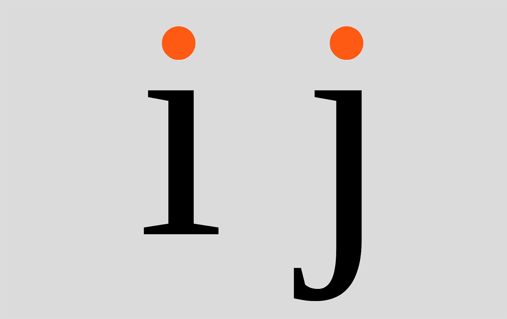 Lower case 'i' and 'j' with dots highlighted