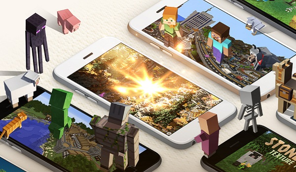 Minecraft characters stand on mobile devices
