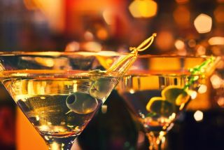 Martini glasses filled with drinks