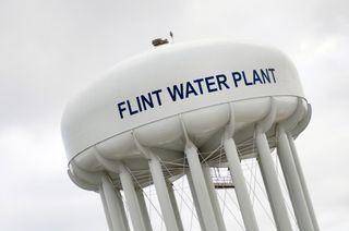 A water tower in Flint, Michigan.