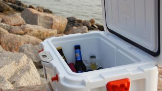 Open cooler with beverages