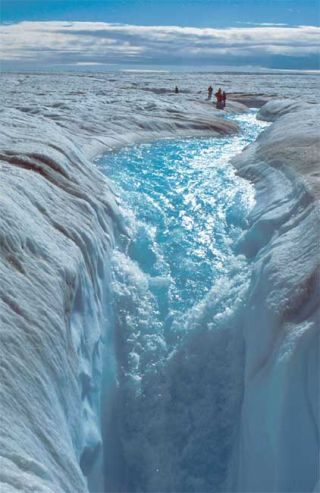 Meltwater stream on the Greenland ice sheet.