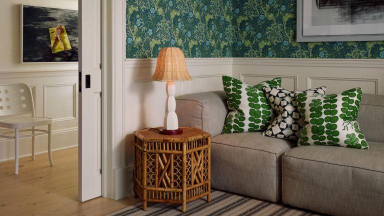 Rattan light in green living room