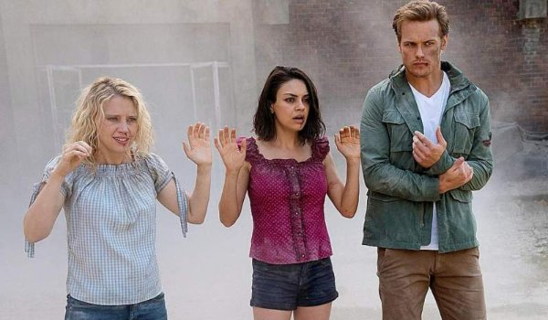 The Spy Who Dumped Me Kate McKinnon Mila Kunis and Sam Heughan look quite beat up in the dust