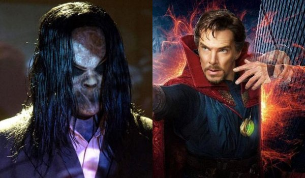 Bughuul from Sinister standing in front of the screen Doctor Strange using his mystical powers
