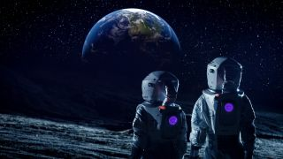 Astronauts moon illustration