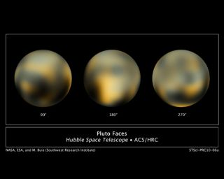 Images of the dwarf planet Pluto taken by NASA's Hubble Space Telescope.
