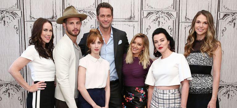 The cast of Younger - Actors Miriam Shor, Nico Tortorella, Molly Bernard, Peter Hermann, Hilary Duff, Debi Mazar and Sutton Foster