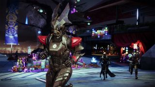 Destiny 2 festival of the lost 2021 Guardians in masks running in the Tower bungie press kit image