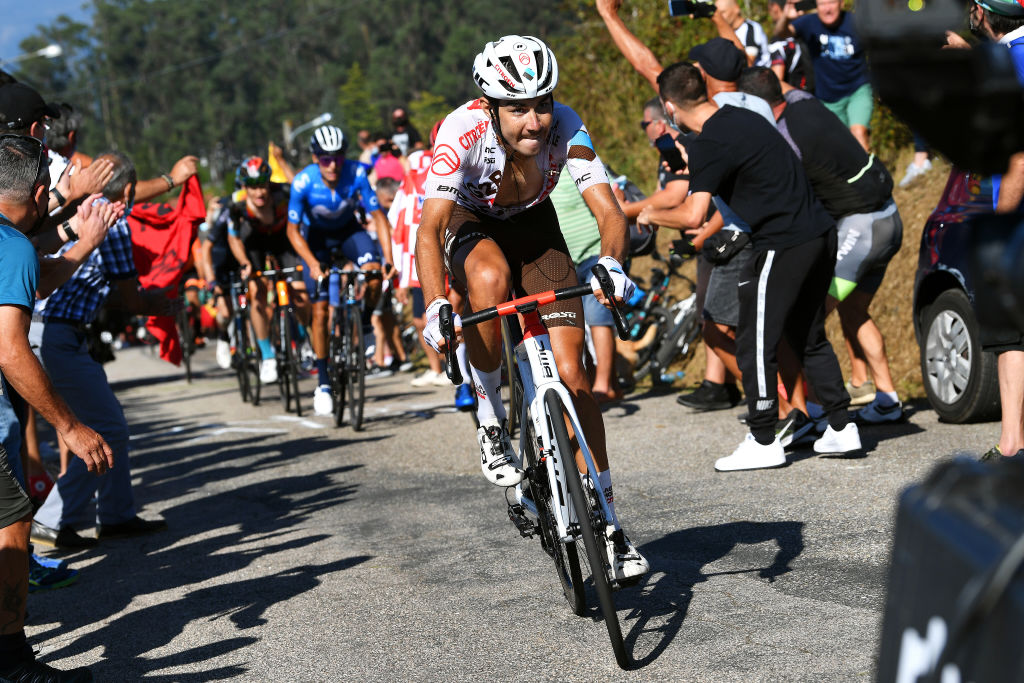 MOS SPAIN SEPTEMBER 04 Clment Champoussin of France and AG2R Citren Team attacks in the breakaway during the 76th Tour of Spain 2021 Stage 20 a 2022km km stage from Sanxenxo to Mos Alto Castro de Herville 502m lavuelta LaVuelta21 on September 04 2021 in Mos Spain Photo by Tim de WaeleGetty Images