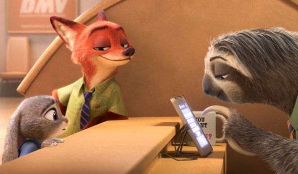 Judy Hobby and Nick Wild at the DMV in Zootopia
