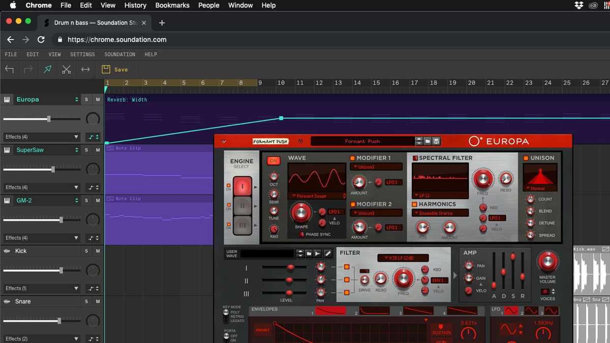 Propellerhead's Europa synth is coming to the Soundation online DAW