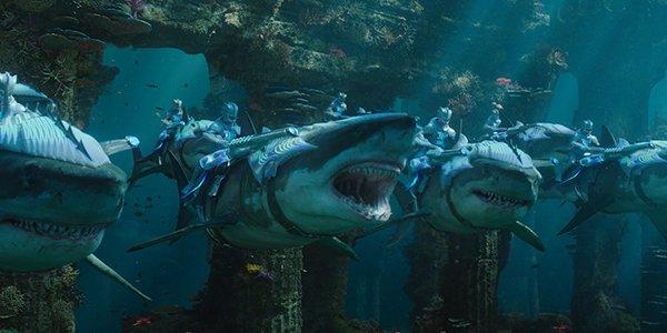 Sharks being ridden into battle by Merfolk in Aquaman