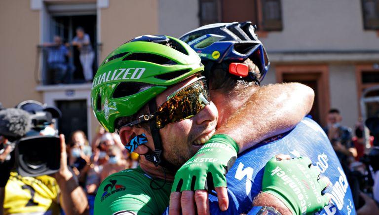 Mark Cavendish and Michael Mørkøv after stage 13 of the Tour de France