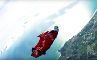 Wingsuit pilot Fraser Corsan is hoping to break four world records in two jumps.