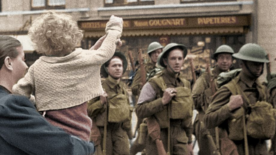 Children and soldiers in the street in Greatest Events Of World War II