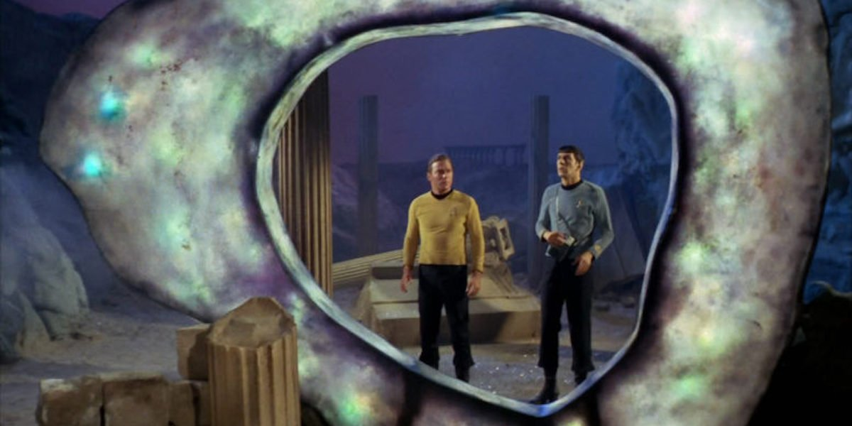 William Shatner and Leonard Nimoy as Kirk and Spock in Star Trek's City on the Edge of Forever