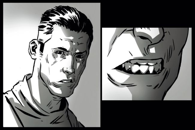 Dua bingkai menunjukkan seorang pria dengan wajah lurus, lalu seorang pria dari jarak dekat memperlihatkan giginya dengan agresif