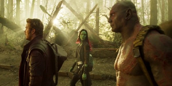 Peter Quill, Gamora and Drax in Guardians of the Galaxy Vol. 2