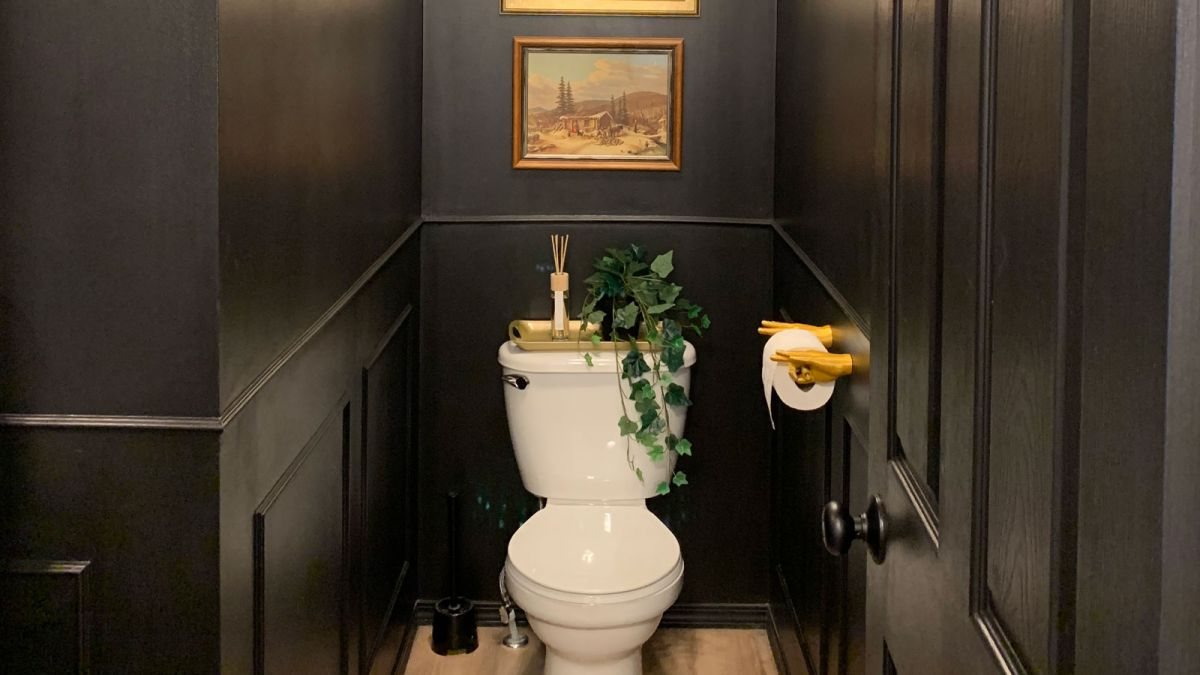 Would you paint your whole bathroom black? See how one DIYer used the hue to create a shocking transformation