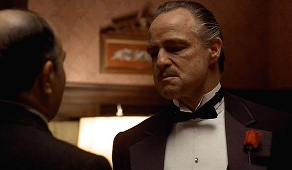 Marlon Brando as Don Corleone in the opening scene of The Godfather