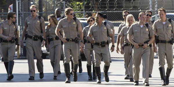 Dax Shepard and Michael Pena with the cast of CHIPs