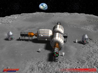 Commercial businesses are eyeing the moon. This early concept art shows a lunar operation as envisioned by Bigelow Aerospace. The private firm is intent on leveraging its work on expandable habitats in low Earth orbit for use on the moon.