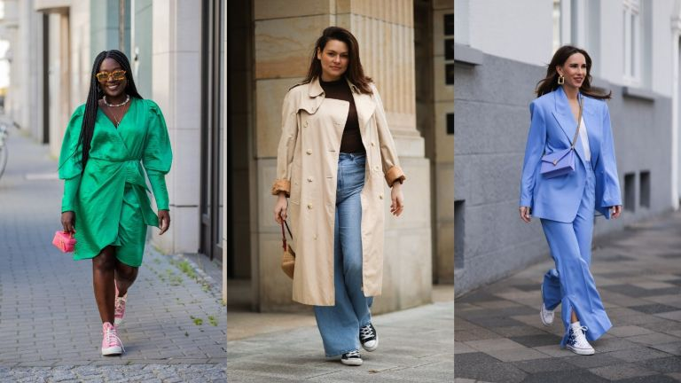 street style influencers demonstrating how to wear high top converse