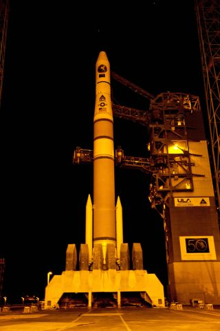 A United Launch Alliance Delta 4 sits poised on its launch pad with the classified NROL-27 satellite for the National Reconnaissance Office at the Space Launch Complex-37 at Cape Canaveral Air Force Station in Florida.