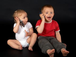 Kids talking on the phone