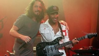 Chris Cornell and Tom Morello of Audioslave perform during the Prophets Of Rage And Friends' Anti-Inaugural Ball at Teragram Ballroom on January 20, 2017 in Los Angeles, California
