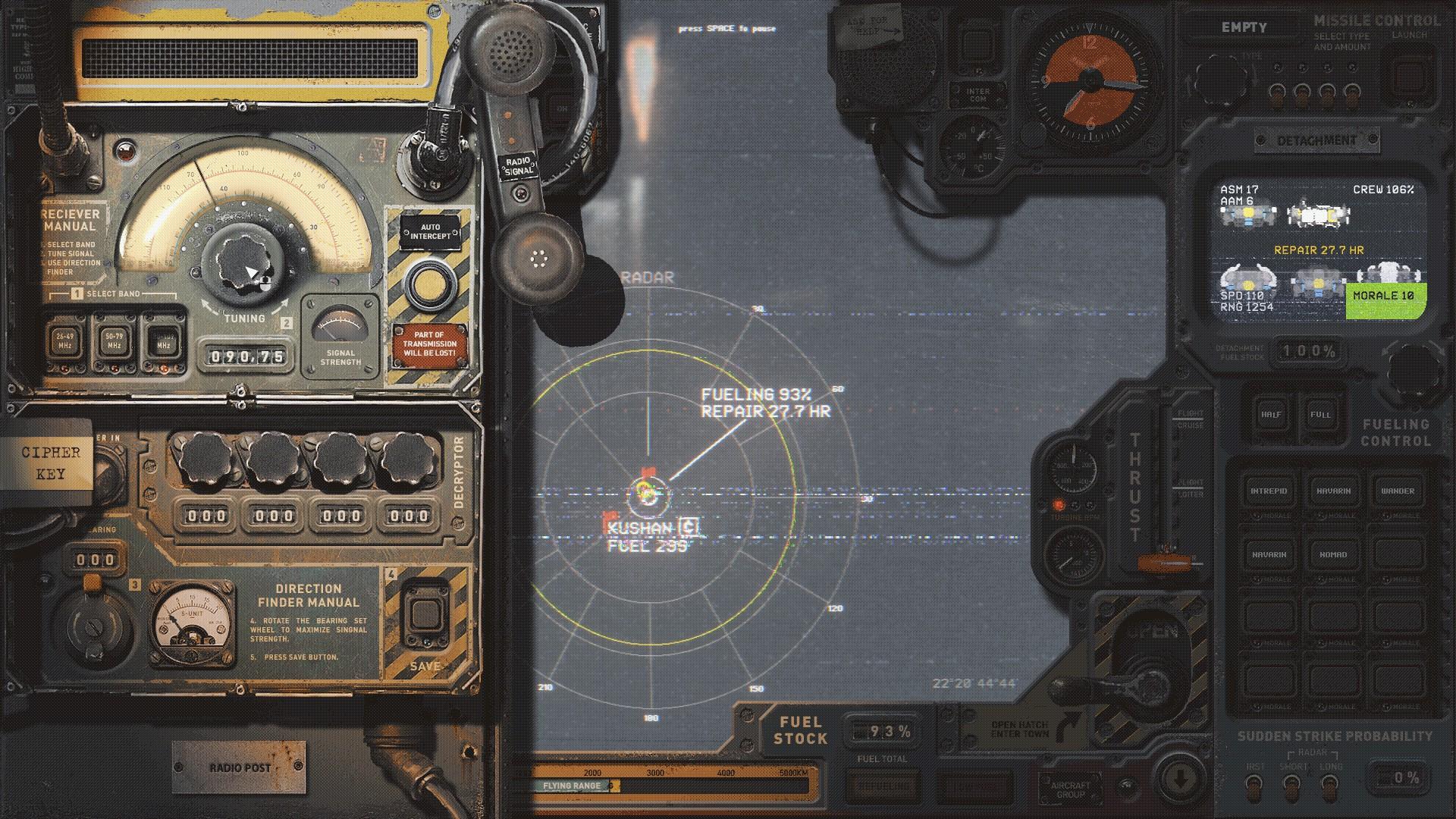Highfleet's diegetic interface