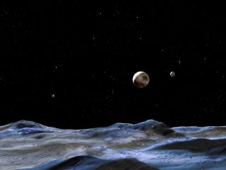 Pluto System Seen from One of the Moons