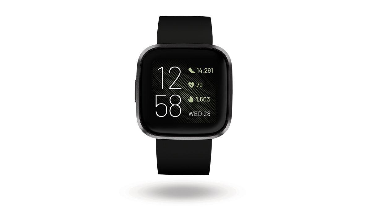 Black Brand New Fitbit Versa 2 Smartwatch Bundle w// Small /& Large Bands