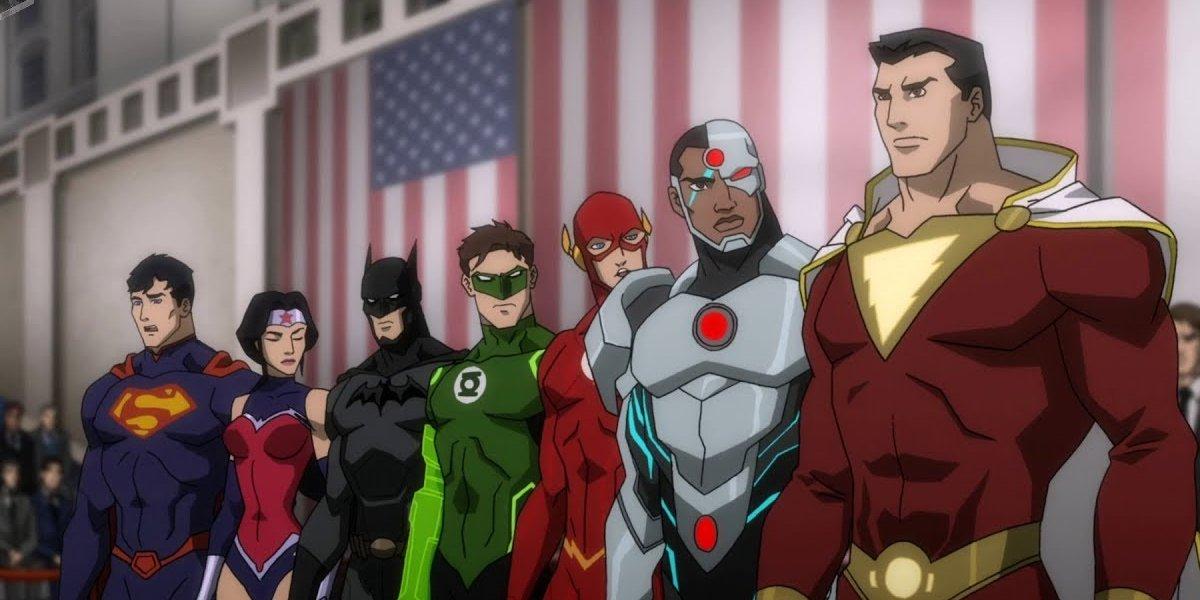 Superman, Wonder Woman, Batman, Green Lantern, The Flash, Cyborg, and Shazam in Justice League: War