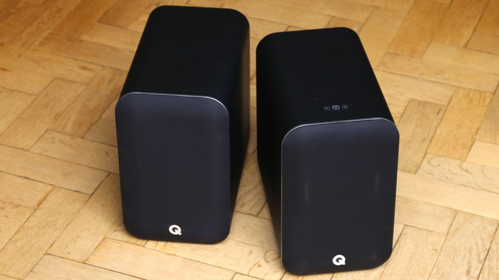 pair of Q Acoustics M20 HD bookshelf speakers