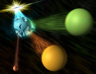 An illustration showing an electron and positron colliding, resulting a stream of other particles, including an antimatter B-bar meson.