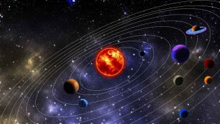 Illustration of solar system with fiery sun at center