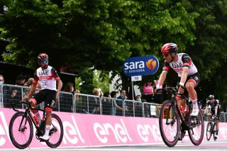 Fernando Gaviria finishes stage 2 of the Giro d'Italia in a disappointing 24th with teammate Max Richeze