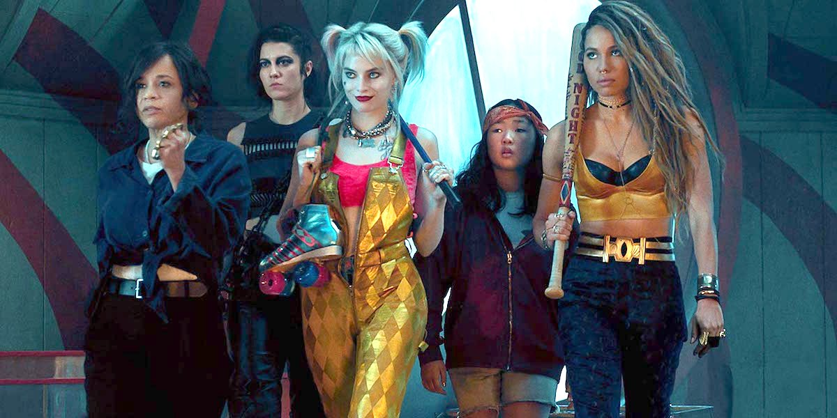 Renee Montoya, Huntress, Harley Quinn, Cassandra Cain, and Black Canary walk together in Birds of Pr