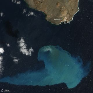 Satellite image of the sumbarine eruption off El Hierro Island