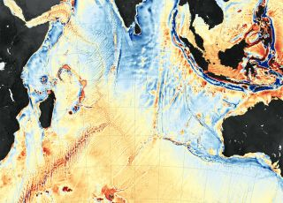 Satellite data enables scientists to map the seafloor, which is sinking under the weight of rising seas. (This map shows gravity anomalies in the western Indian Ocean.