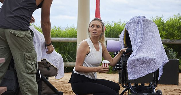 Liz is annoyed at Ash (Martin Ashford) for bumping into her pram and checks to see if her baby is ok in Home and Away.