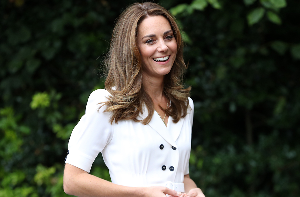 Duchess of Cambridge opts for summery floral mask with white dress