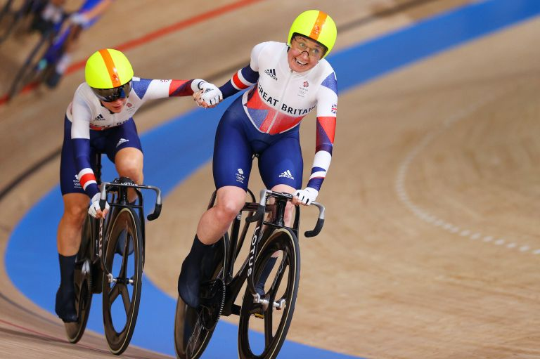 Laura Kenny (left) and Katie Archibald on their way to Madison gold
