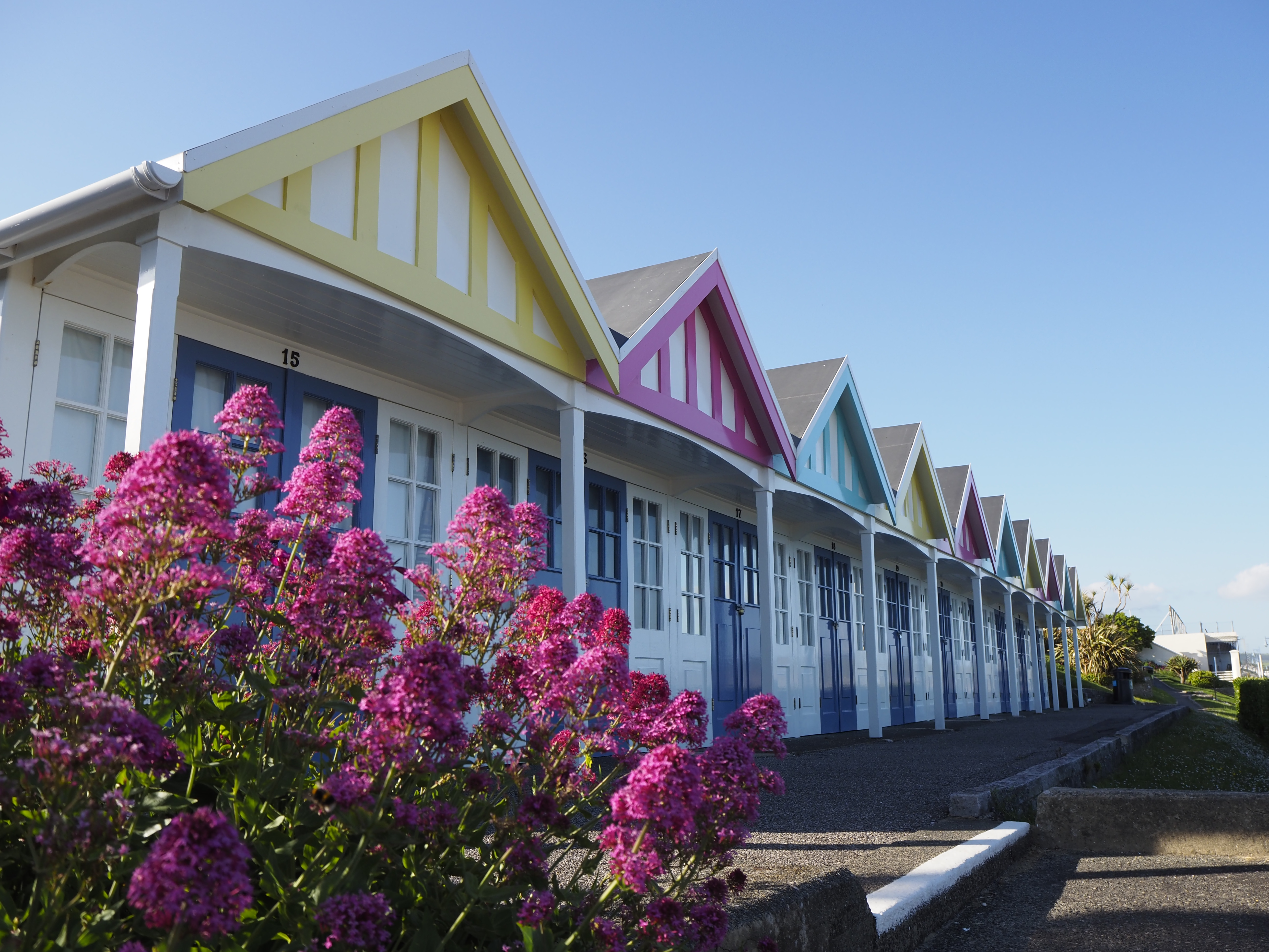Photo of beach houses shot on the Olympus E-P7