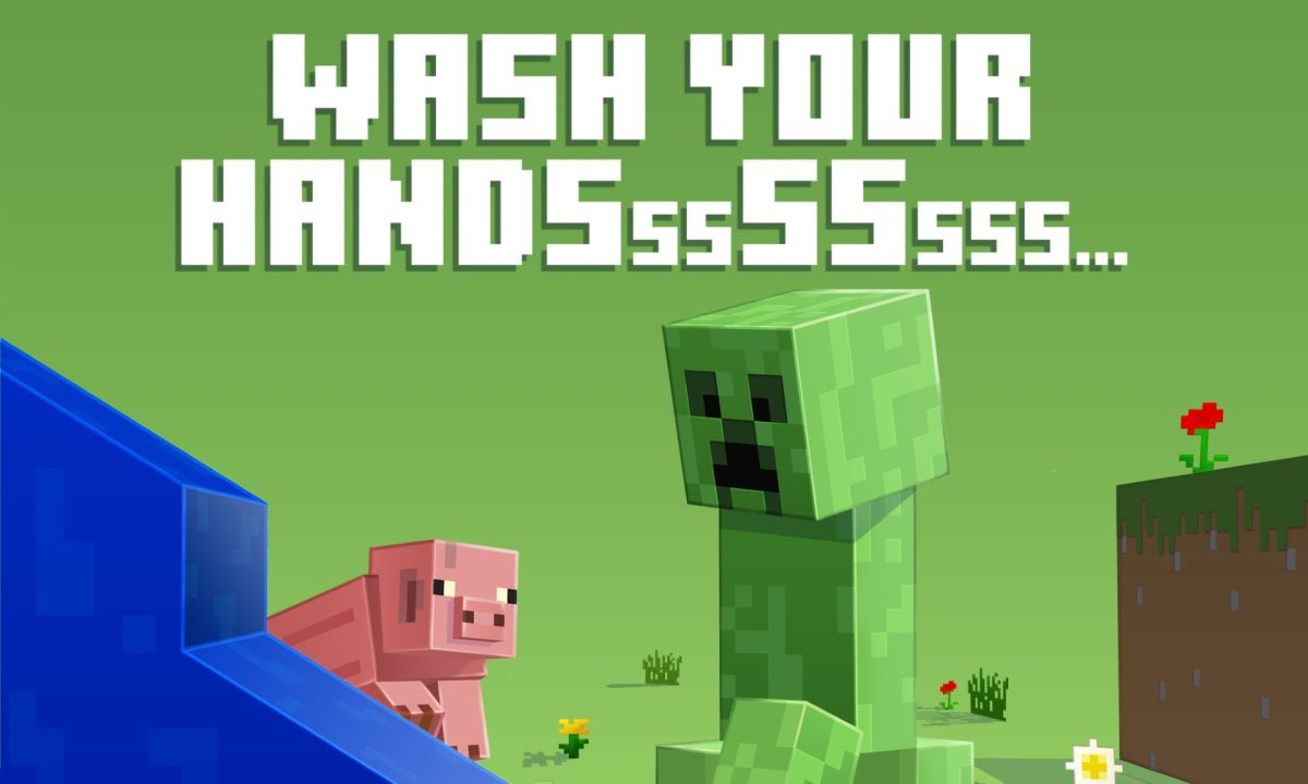 Minecraft's Creepers want you to wash your hands to prevent the spread of COVID-19