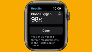 An Apple Watch 6 showing the blood oxygen monitor features
