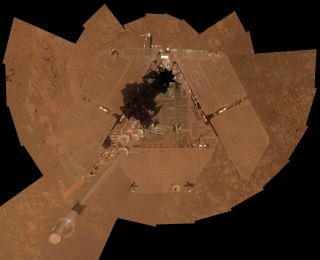 NASA's Mars Exploration Rover Opportunity recorded the component images for this self-portrait about three weeks before completing a decade of work on Mars. The rover's panoramic camera (Pancam) took the images between Jan. 3 and Jan. 6, 2014.